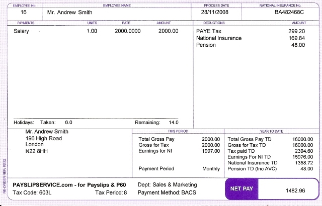 Doc529737 Payslip Doc Payslip Format Word and Excel formats – Sample of a Payslip